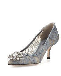 Dolce And Gabbana Jewel Embellished Lace Pump Grigio