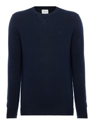 Peter Werth Men's Bryson Fine Knitted Cotton Crew Neck Navy