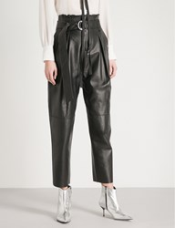 Moandco. Paper Bag Waist Straight Leather Trousers Black