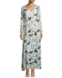 Lucca Couture Long Sleeve Floral Print Maxi Wrap Dress White Pattern