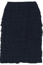 Moschino Tiered Georgette Skirt Blue