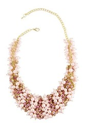 Saachi Rose Crystal Faux Pearl Statement Necklace Pink