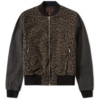 Dries Van Noten Vinnie Reverse Leopard Panel Bomber Brown
