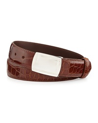 W.Kleinberg Glazed Alligator Belt With Plaque Buckle Cognac Made To Order