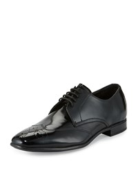 Charles Jourdan Oliver Patent Wing Tip Oxford Black Brush Off