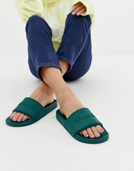 Ivy Park Embossed Sliders In Green Forest Green