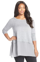 Plus Size Women's Eileen Fisher Silk And Cashmere Ballet Neck Top Grey