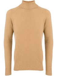 Drumohr Roll Neck Fitted Sweater Nude And Neutrals