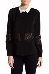 English Factory Collared Lace Trim Shirt Black