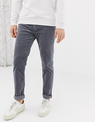 United Colors Of Benetton Slim Fit Cord Trousers With Stretch In Grey