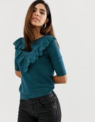 Naf Naf Knitted Short Sleeve Top With Volants In The Fornt Blue