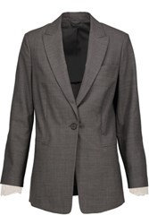 Brunello Cucinelli Lace Trimmed Wool Blazer Gray
