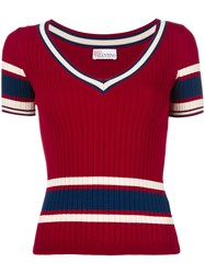 Red Valentino Ribbed Striped Jumper Red