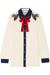 Gucci Pussy Bow Embellished Silk Crepe De Chine Shirt Cream