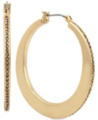 Kenneth Cole New York Gold Tone Pave Knife Edge Hoop Earrings