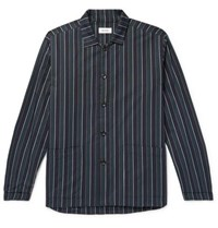 Chimala Striped Cotton Twill Overshirt Navy
