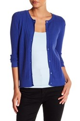 Kier And J Cable Knit Button Up Cardigan Blue