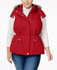 American Rag Trendy Plus Size Faux Fur Trim Puffer Vest Only At Macy's Red
