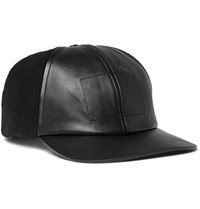 Balenciaga Panelled Wool Blend Felt And Leather Baseball Cap Black