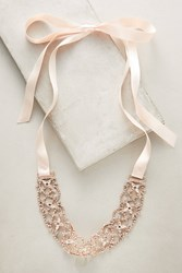 Anthropologie Rose Ribbon Choker Necklace Copper