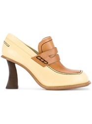 Marni Curved Heel Penny Loafers Yellow And Orange