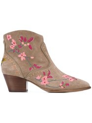 Ash Floral Embroidered Ankle Boots Women Leather Suede 35 Nude Neutrals