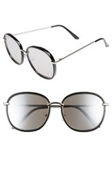 Women's Bp. 55Mm Mirrored Round Sunglasses Black Silver Black Silver