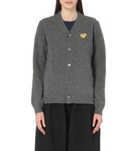 Play Embroidered Heart Wool Cardigan Grey