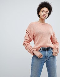 Selected Knitted Jumper With Sleeve Detail Pink