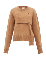 Bottega Veneta Woven Panel Wool Sweater Camel