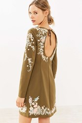 Kimchi And Blue Sakura Embroidered Frock Mini Dress Brown Multi