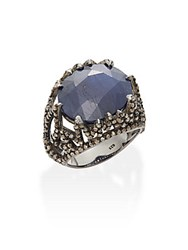 Bavna 2.31 Tcw Champagne Rose Cut Diamonds 20.20 Ct Blue Sapphire And Sterling Silver Ring