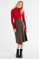 Urban Outfitters Uo Diagonal Button Down Midi Skirt Olive