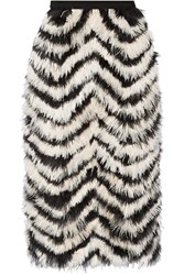 Erdem Skyla Feather Paneled Crepe Skirt Zebra Print