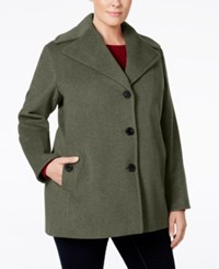 Calvin Klein Plus Size Wool Cashmere Single Breasted Peacoat Light Gray
