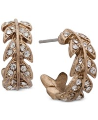 Lonna And Lilly Gold Tone Pave Leaf Huggie Hoop Earrings Crystal