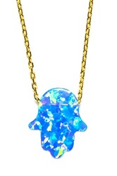Zsa Zsa Jewels Blue Opal Hamsa Necklace