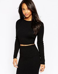 Ax Paris Knitted Crop Jumper Black