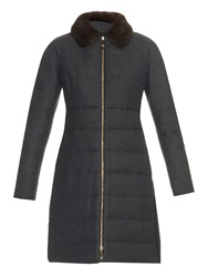 Moncler Gamme Rouge Quilted Fur Collar Coat