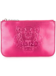 Kenzo 'Tiger' Clutch Pink And Purple