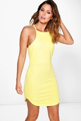Boohoo High Neck Curved Hem Bodycon Dress Yellow