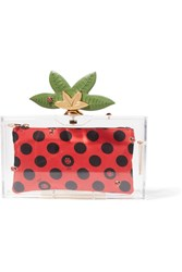 Charlotte Olympia Lucky Pandora Embellished Perspex Clutch Red