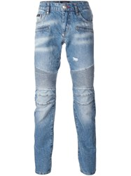 Philipp Plein 'Cut Out' Biker Jeans Blue