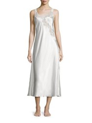 Oscar De La Renta Plus Lace Charmeuse Nightgown White Black