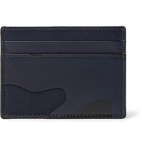 Valentino Camouflage Print Leather And Canvas Cardholder Blue
