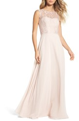 Hayley Paige Occasions Lace And Chiffon A Line Gown Rose Blush Cashmere