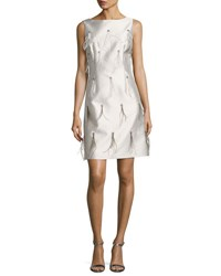 St. John Bateau Neck Hand Beaded Cocktail Dress W Feathers Silver