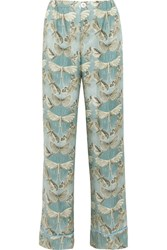 F.R.S For Restless Sleepers Etere Printed Silk Twill Pajama Pants Gray Green