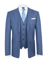 Paul Costelloe Modern Fit Blue Birdseye Suit Jacket Light Blue