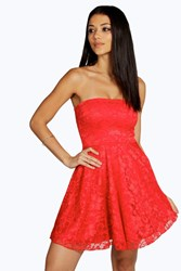 Boohoo Lace Bandeau Skater Dress Red